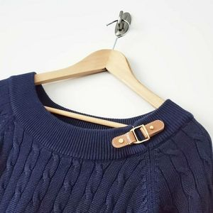 Ralph Lauren Cable Knit Leather Detailed Sweater